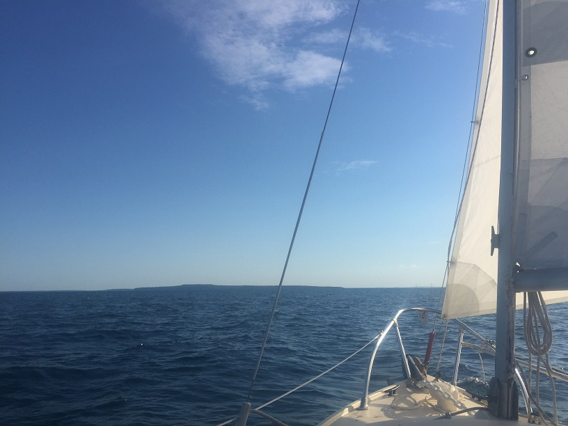 Sailing a small boat to Mackinac Island